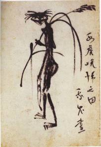 Esbozo de un kappa realizado por el propio Akutagawa
