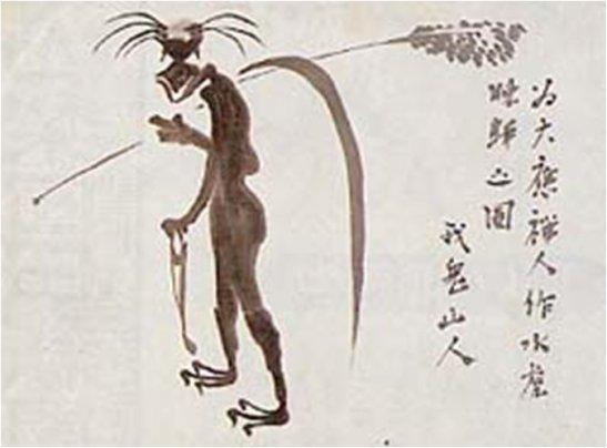 Kappa dibujado a tinta por el escritor Akutagawa Ryūnosuke (1892-1927).
