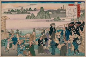 """Edo Nihonbashi"", ilustración de Fujikawa Tamenobu"