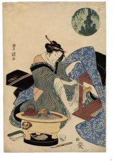 "Una de las ""Cinco bellezas"" (Gonin bijo) de Utagawa Kunisada (1786-1865). Imagen de The Moon Has No Home, Japanese Color Woodblock Prints (University of Virginia Art Museum)"