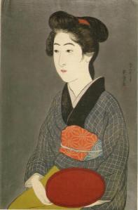 Mujer con plato (Hashiguchi Goyō, 1920)