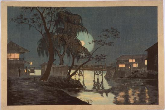 Vista nocturna de Imadobashi - Kobayashi Kiyochika
